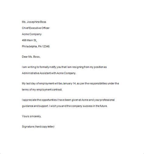 resignation notice template 12 free word excel pdf