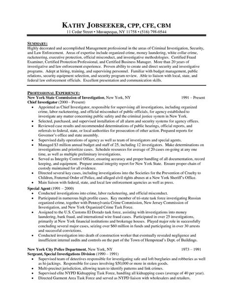 Of Crime Officer Sle Resume by Sle Objectives For Resumes Enforcement 28 Images Bank Security Officer Resume Sales Officer