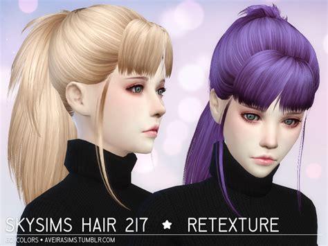 the sims 4 cc hair ponytail my sims 4 blog skysims 217 hair retexture by aveirasims