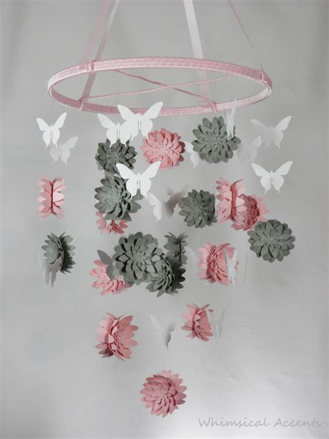 Hijacket Original Hj12 Basic Grey Baby Pink dahlia and butterfly paper nursery mobile in pink gray