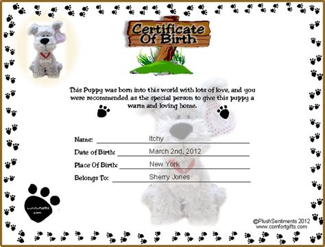 printable puppy birth certificate template tattoos ideas