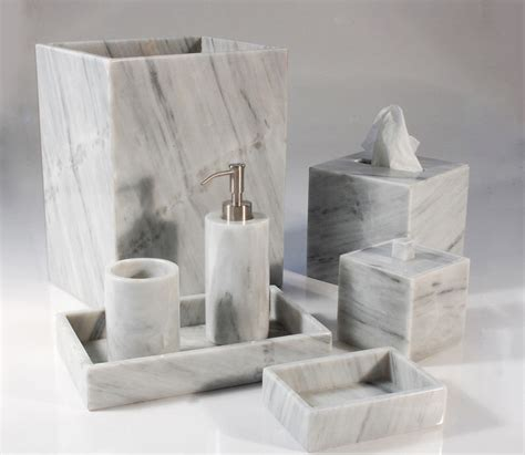 Light gray marble bathroom sets mike and ally palazzo dawn gray bathroom accessories tsc
