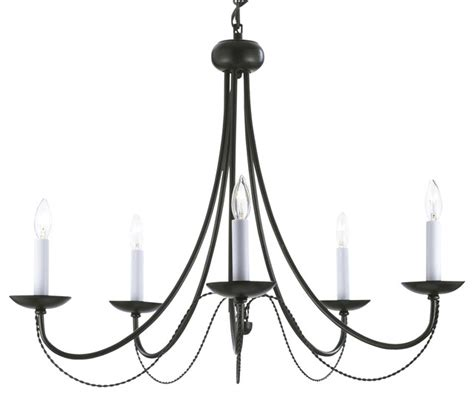 Versailles Wrought Iron 5 Light Chandelier Black