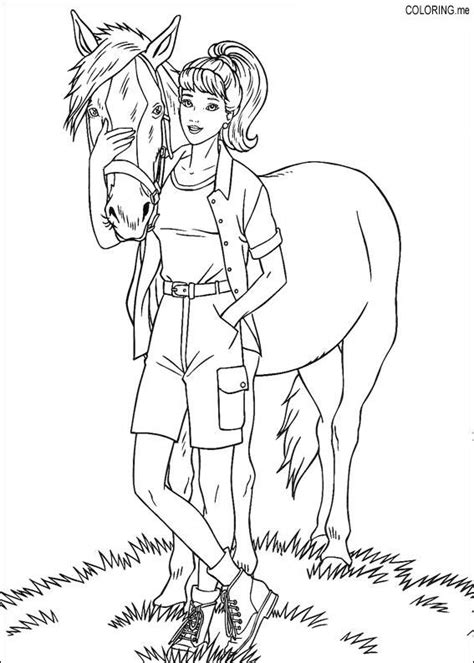 coloring page barbie and horse coloring me