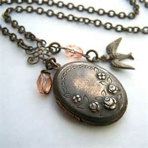 Handmade jewelry on etsy airloom vintage locket in rosaline by