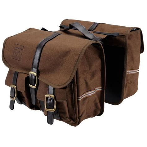 nwt 2 retro style brown canvas bike saddle bags set left