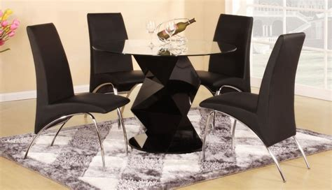 Black Glass Dining Room Sets Modern Round Black High Gloss Clear Glass Dining Table Amp 4