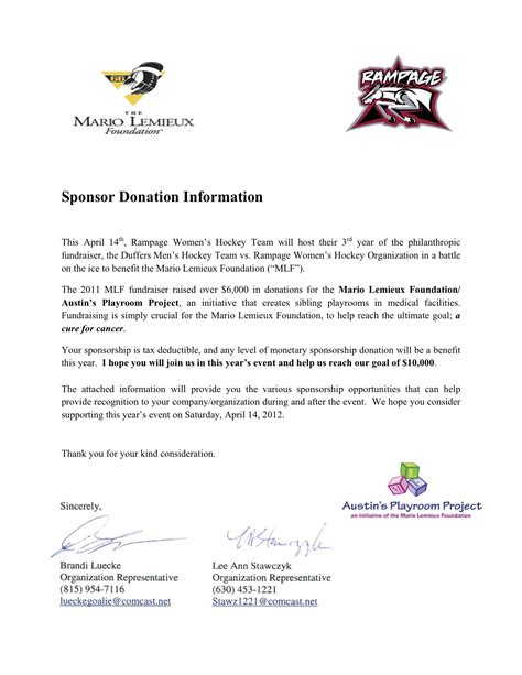 Sponsor Letter For zzzzzz romeoville rage s hockey club