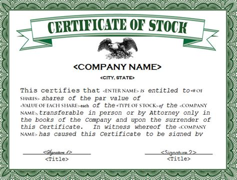 company certificate template 42 stock certificate templates free word pdf excel formats