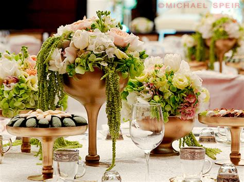 gold daiquiri vase centerpiece weddingbee photo gallery