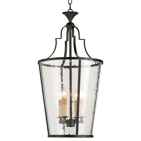 Wrought Iron Pendant Lights Goshen Seeded Glass Wrought 4 Light Iron Lantern Pendant Kathy Kuo Home