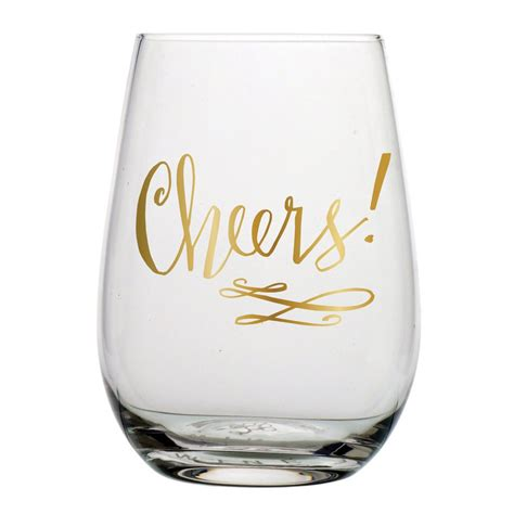 wine glass cheers cheers stemless wine glass