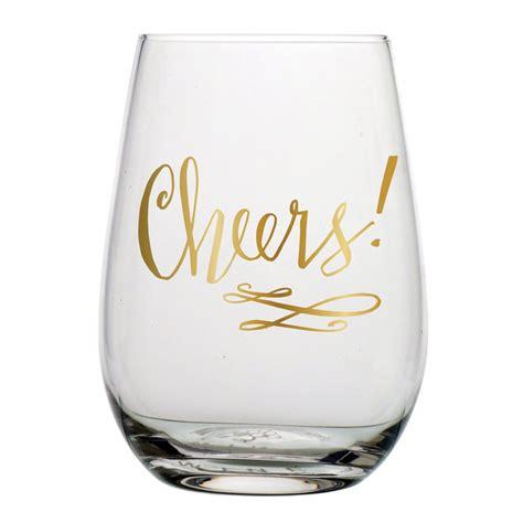 wine glass cheers cheers stemless wine glass