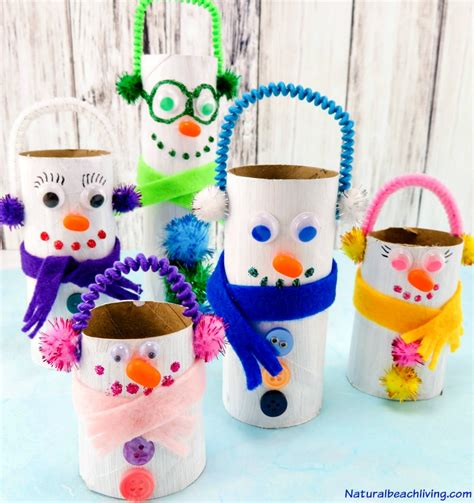 Snowman Toilet Paper Roll Craft - adorable diy toilet paper roll snowman crafts