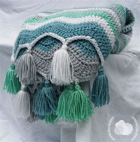 wave afghan in green and purple crochet throw blanket classic vintage style chevron in aqua teal grey antique