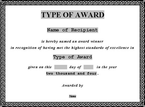 5 New Printable Certificates Certificate Templates Microsoft Word Award Template