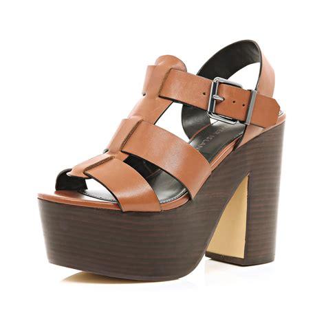 platforms sandals river island wooden platform sandals in brown lyst