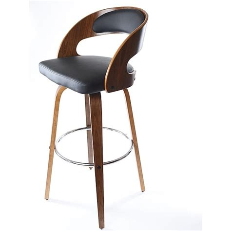 bar stools black leather buy walnut veneer and black faux leather bar stool from