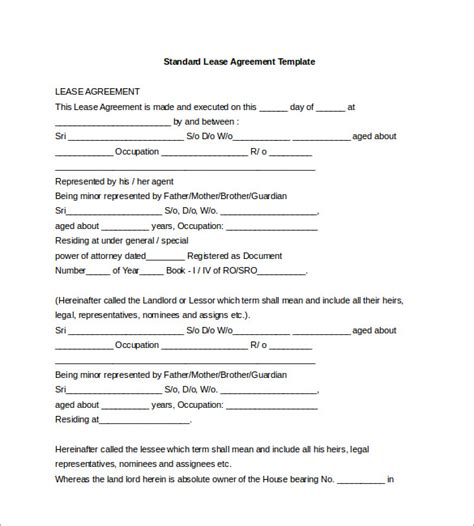template of a lease agreement for a tenant lease template 18 free word excel pdf documents