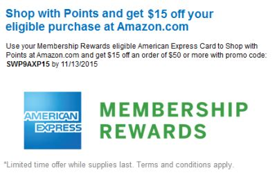 Using American Express Gift Card On Amazon - 15 off 50 at amazon with amex membership rewards