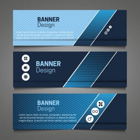 design banner horizontal horizontal banner design sets with dark blue color vectors