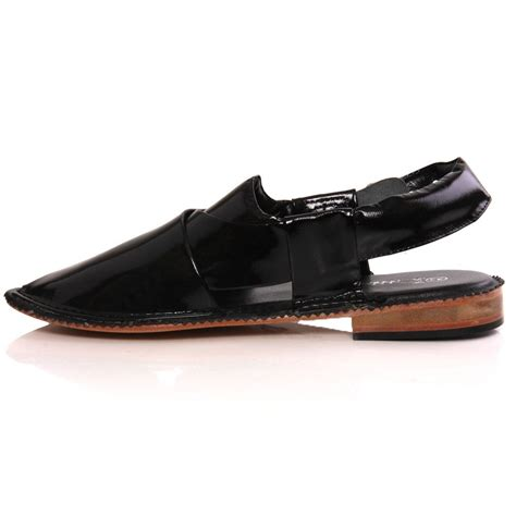 Handmade Leather Shoes Uk - unze mens hanks handmade leather flat peshawari sandals