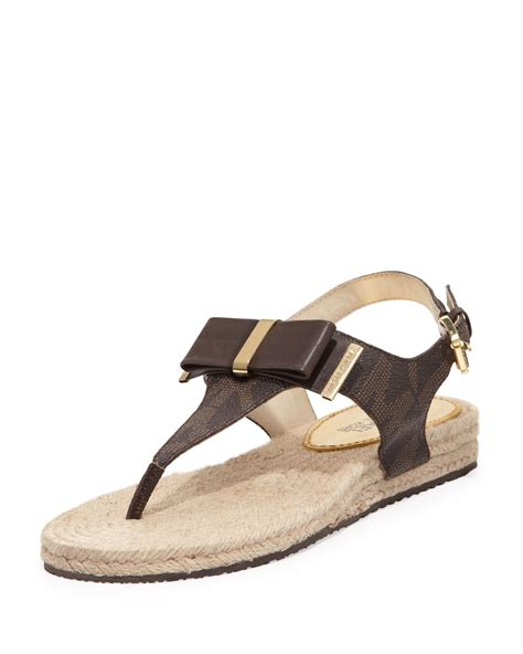 bow sandals michael michael kors meg bow sandals in brown lyst