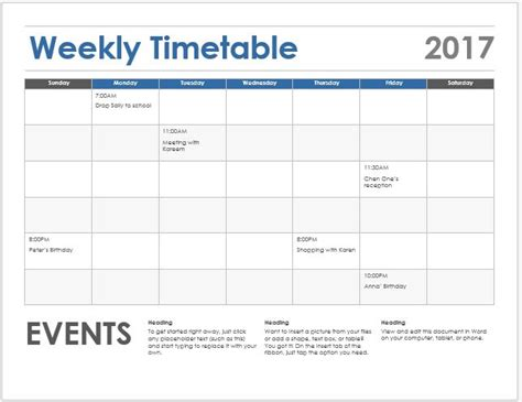 student class timetable sheets for ms excel word amp excel