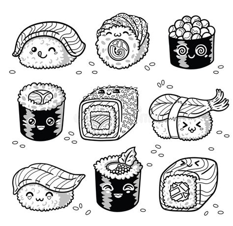 kawaii sushi coloring pages kawaii rolls and sushi manga cartoon set in outline stock