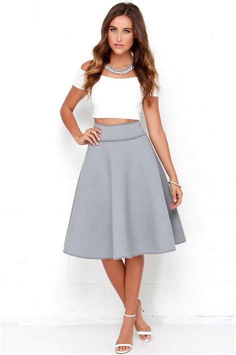 chic grey skirt high waisted skirt midi skirt 58 00