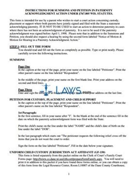 Acknowledgement Letter Paternity Form Summons And Petition In Paternity Acknowledgement Packet Wisconsin Forms Laws