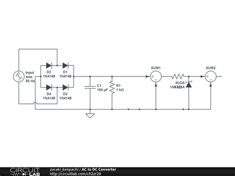 convert ac to dc with diodes ac to dc converter circuitlab