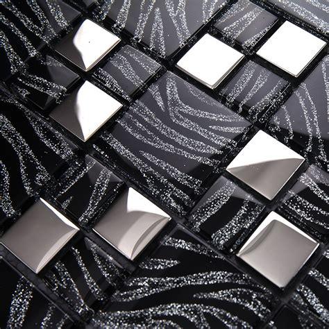 black and silver bathroom tiles 11 sq ft per lot metallic glass silver black zebra mosaic