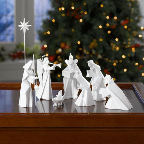 Porcelain Origami Nativity Set - modern 8 origami nativity manger in white porcelain