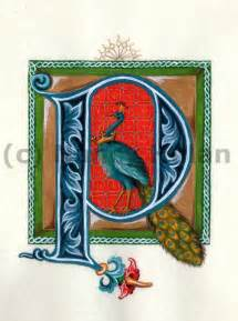 Medieval illuminated letter p alphabet letter p painted initial p