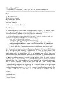 Cover Letter Sle For Pharmacy Technician by Sle Cover Letter
