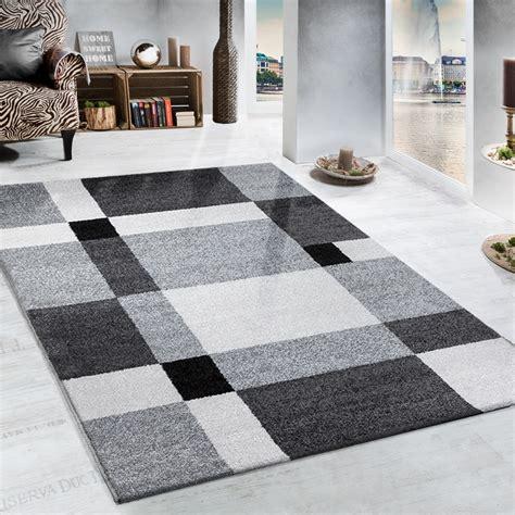 teppiche modern 61 schwerer webteppich muster karo grau schwarz wohn und