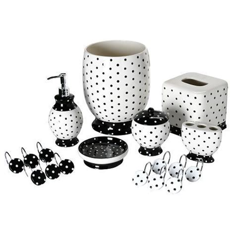 details about black white polka dot bathroom accessory