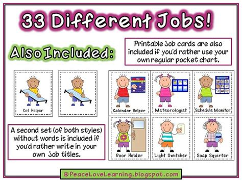 printable classroom job templates peace love and learning job chart part 2