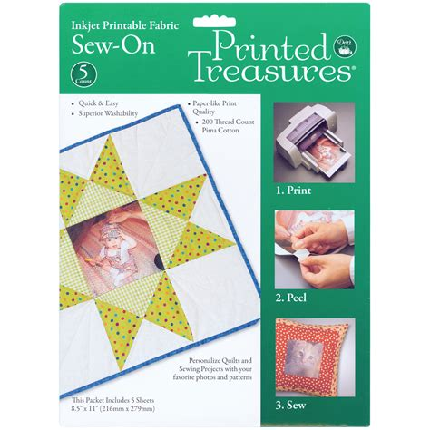 printable fabric sew on sheets printed treasures sew on ink jet fabric sheets 8 5 x 11