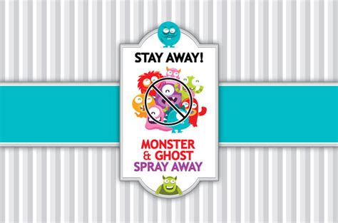 printable label for monster spray monster and ghost spray away dabbles babbles