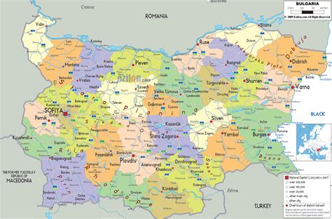 political map of a political map of bulgaria
