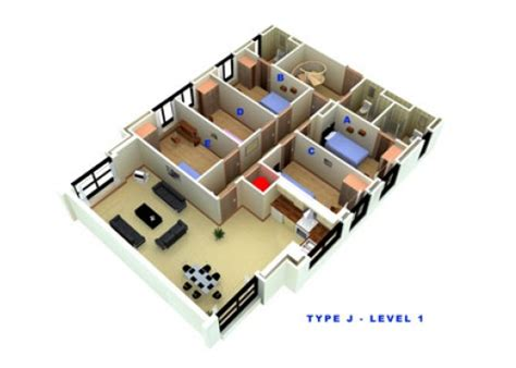 types of apartment layouts seven bedroom apartment types