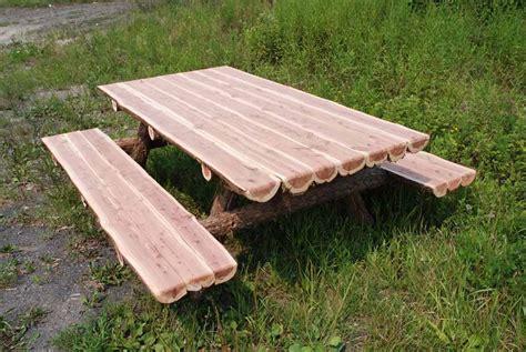 rustic log picnic tables coma frique studio dcdb