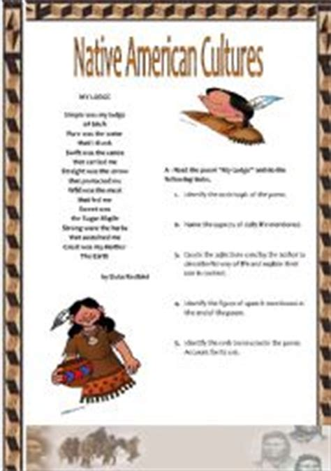 themes of indian english poems native american culture worksheets cool pre k work sheets