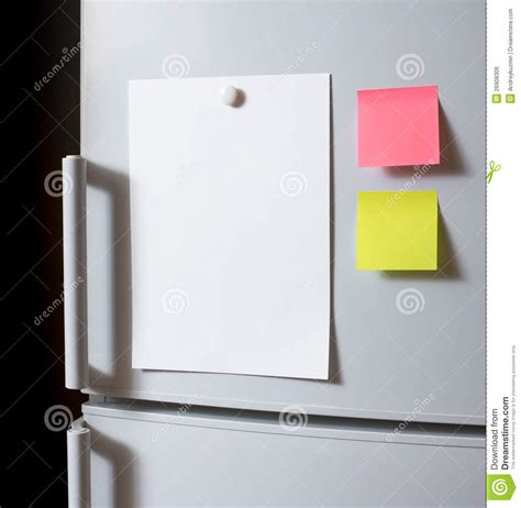 How To Make A Paper Refrigerator - blank paper sheet on fridge door stock photo image 26908306