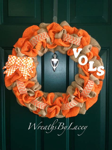 tennessee fanatic decor sports decor ut vols burlap wreath tennessee volunteers by wreathsbylacey