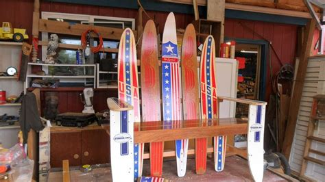 water ski bench water ski bench from old wood skis cool garden ideas