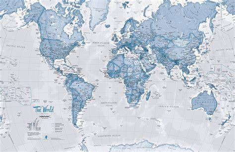 world blue map wall mural murals wallpaper