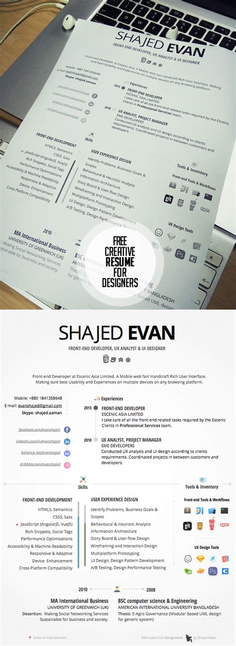 Free Creative Resume by 23 Free Creative Resume Templates With Cover Letter